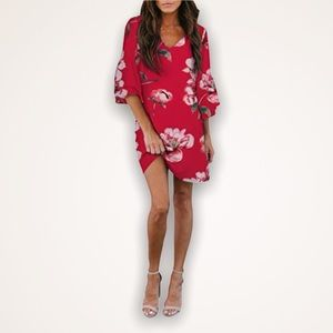🆕 Red Floral Boxy Fit Bell Sleeve Dress